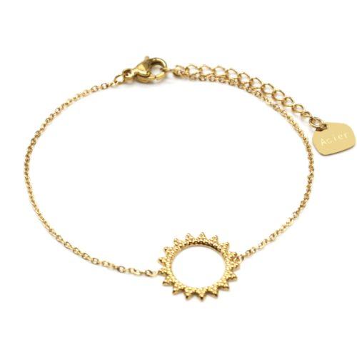 Bracelet-Fine-Chaine-avec-Soleil-Contour-Points-Acier-Dore