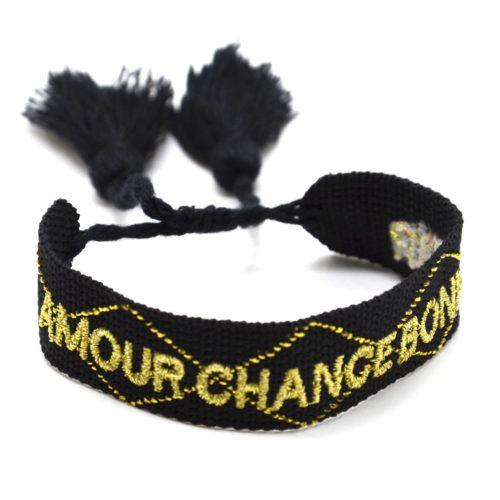 Bracelet-Manchette-Noir-Broderie-Amour-Chance-Bonheur-Dore-et-Pompons