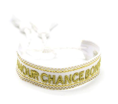 Bracelet-Manchette-Tissee-Blanc-Amour-Chance-Bonheur-Dore-avec-Pompons