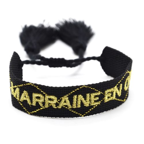 Bracelet-Manchette-Noir-Broderie-Marraine-en-Or-Dore-et-Pompons