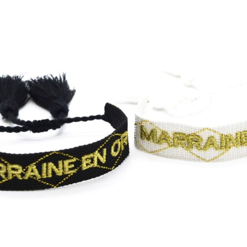 Bracelet-Manchette-Broderie-Marraine-en-Or-Dore-et-Pompons