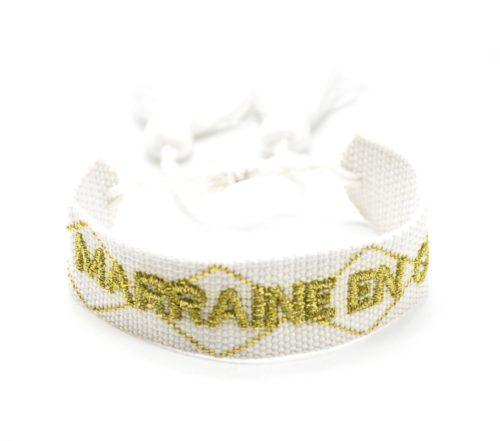 Bracelet-Manchette-Tissee-Blanc-Marraine-en-Or-Dore-avec-Pompons