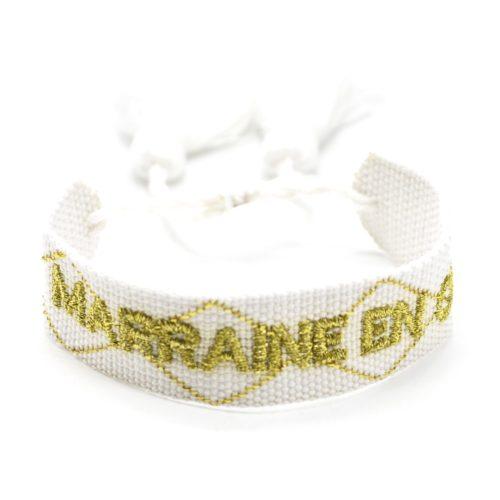 Bracelet-Manchette-Blanc-Broderie-Marraine-en-Or-Dore-et-Pompons