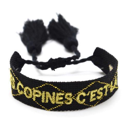 Bracelet-Manchette-Noir-Broderie-Les-Copines-Cest-La-Vie-Dore-et-Pompons