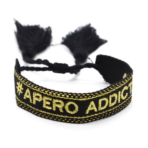 Bracelet-Manchette-Noir-Broderie-Apero-Addict-Dore-et-Pompons