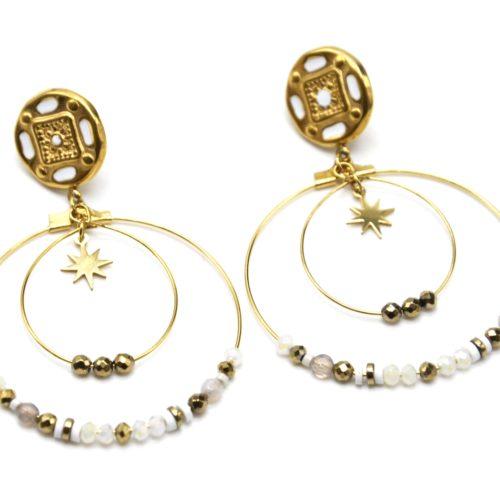 Boucles-dOreilles-Medaille-Baroque-avec-Etoile-et-Cercles-Acier-Dore-Perles-Blanches