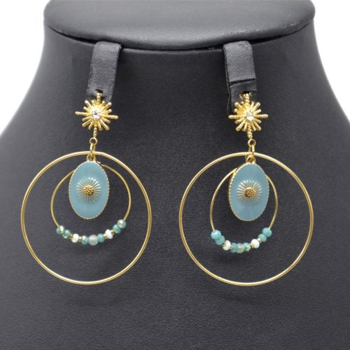 Boucles-dOreilles-Soleil-Cercles-Acier-Dore-avec-Medaille-Email-et-Perles-Bleu-Gris