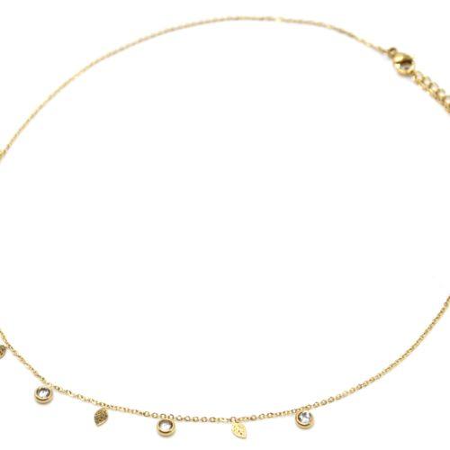 Collier-Fine-Chaine-avec-Mini-Pampilles-Feuilles-Acier-Dore-et-Pierres