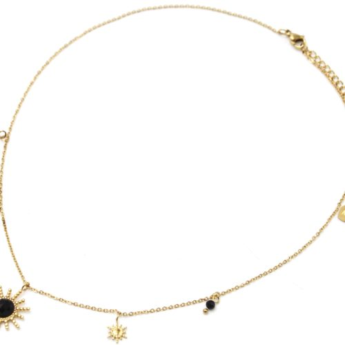 Collier-Pendentif-Multi-Soleils-Points-Acier-Dore-Pierre-et-Perles-Noires