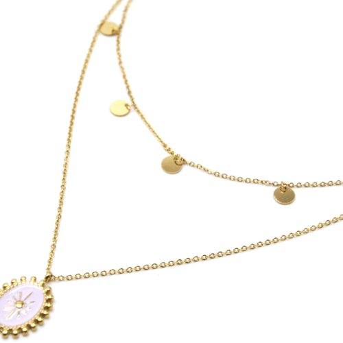 Collier-Double-Chaines-Pampilles-Acier-Dore-et-Ovale-Email-Lilas-Motif-Soleil-Billes