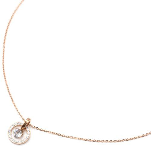 Collier-Fine-Chaine-Acier-Or-Rose-avec-Cercle-Contour-Strass-et-Pierre-Ronde
