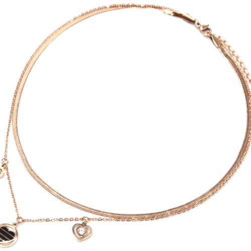 Collier-Double-Chaines-Serpent-Pampilles-Coeurs-Acier-Or-Rose-Email-Noir-et-Pierres