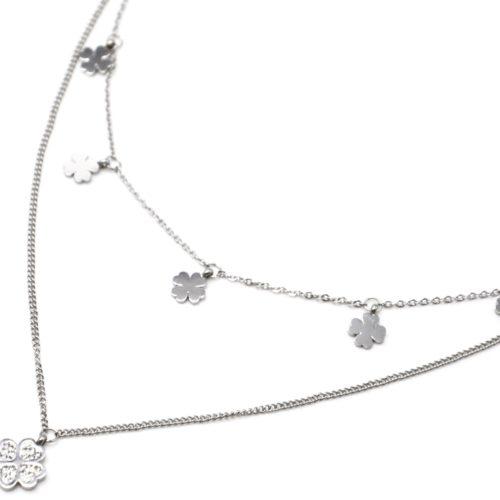 Collier-Double-Chaines-avec-Pampilles-Trefles-Acier-Argente-et-Strass-Blanc