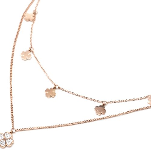 Collier-Double-Chaines-avec-Pampilles-Trefles-Acier-Or-Rose-et-Strass-Blanc