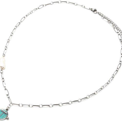 Collier-Chaine-Maillons-Acier-Argente-avec-Perle-et-Pierre-Turquoise-Motif-Libellule