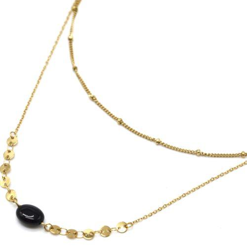 Collier-Double-Chaines-Billes-et-Mini-Cercles-Acier-Dore-avec-Pierre-Noire