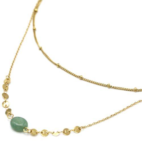 Collier-Double-Chaines-Billes-et-Mini-Cercles-Acier-Dore-avec-Pierre-Verte