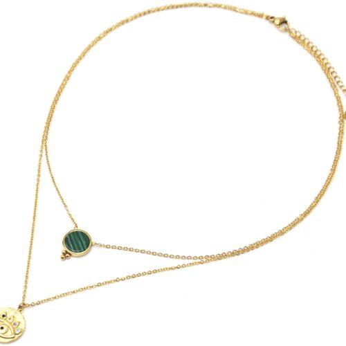 Collier-Double-Chaines-Acier-Dore-avec-Pierre-Verte-et-Medaille-Oeil-Strass