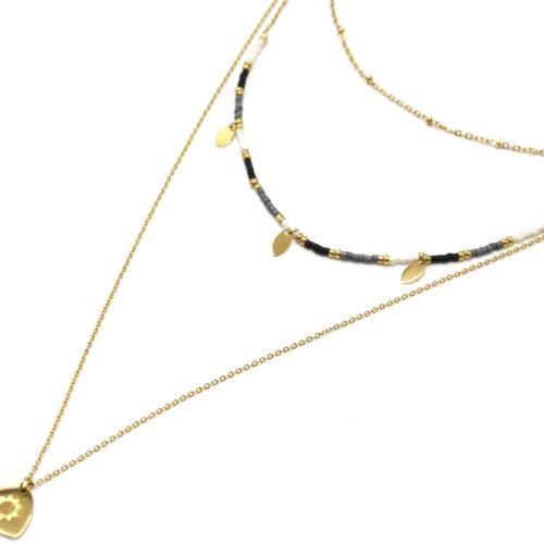 Collier-Triple-Chaines-avec-Perles-Pampilles-et-Medaille-Soleil-Acier-Dore