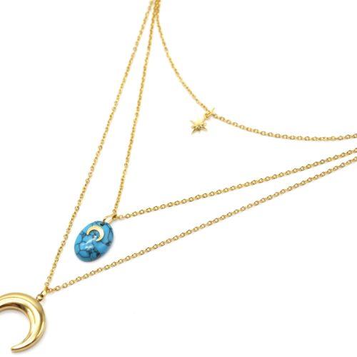 Collier-Triple-Chaines-avec-Etoile-Pierre-Marbre-Turquoise-et-Cornes-Lunes-Acier-Dore