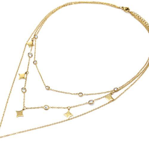 Collier-Triple-Chaines-avec-Pampilles-Losanges-Acier-Dore-et-Pierres