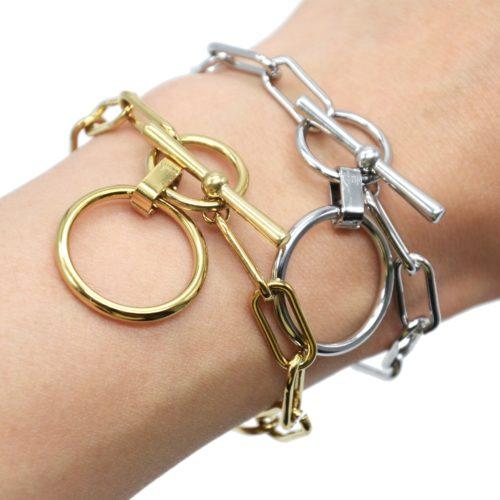 Bracelet-Chaine-Gros-Maillons-Fermoir-T-avec-Charm-Cercle-XXL-Acier