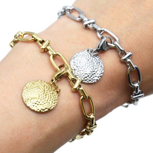 Bracelet-Chaine-Maillons-Mixtes-avec-Charm-Medaille-Relief-Graine-Acier
