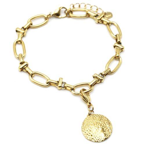 Bracelet-Chaine-Maillons-Mixtes-avec-Charm-Medaille-Relief-Graine-Acier-Dore