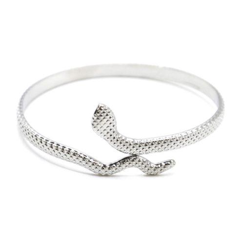 Bracelet-Jonc-Serpent-Enroule-Relief-Ecailles-Acier-Argente