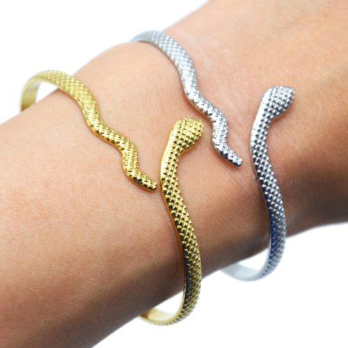 Bracelet-Jonc-Serpent-Enroule-Relief-Ecailles-Acier