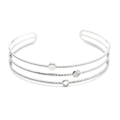Bracelet-Manchette-3-Rangs-avec-Cercles-Acier-Argente