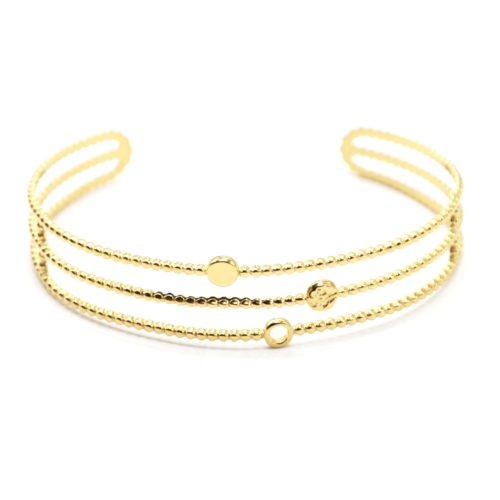 Bracelet-Manchette-Ajouree-avec-Triple-Rangs-et-Cercles-Acier-Dore