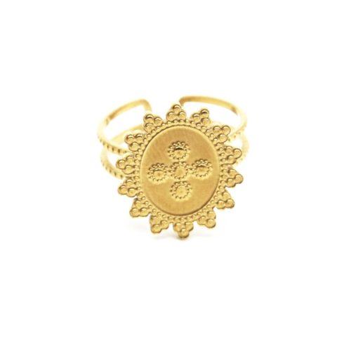 Bague-Anneau-Ajoure-avec-Medaille-Ovale-Soleil-Motif-Acier-Dore