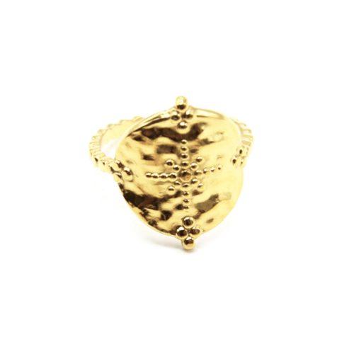 Bague-Anneau-avec-Medaille-Martelee-Soleil-et-Points-Acier-Dore