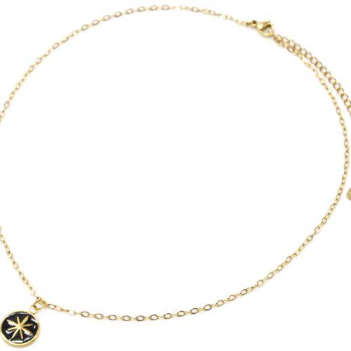 Collier-Chaine-Acier-Dore-Pendentif-Cercle-Email-Noir-Motif-Etoile-Polaire