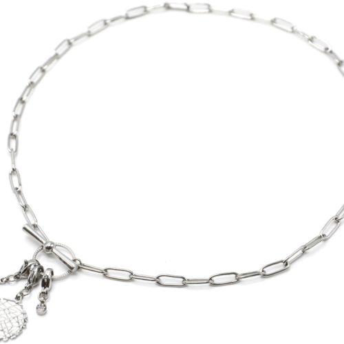 Collier-Chaine-Maillons-Fermoir-T-avec-Charms-Medaille-Relief-Etoile-Acier-Argente-et-Pierre