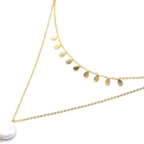 Collier-Double-Chaines-avec-Pampilles-Gouttes-Acier-Dore-et-Perle-Nacre-Blanc