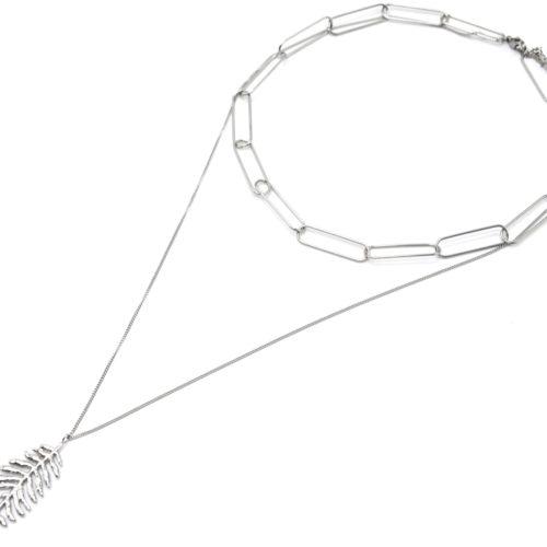 Collier-Double-Chaines-Maillons-et-Pendentif-Plume-Acier-Argente