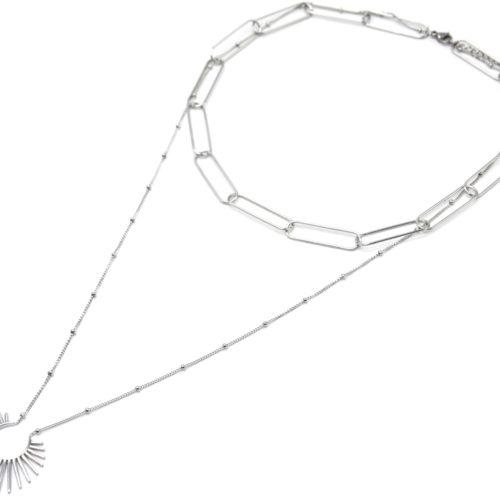 Collier-Double-Chaines-Maillons-et-Pendentif-Etincelle-Acier-Argente
