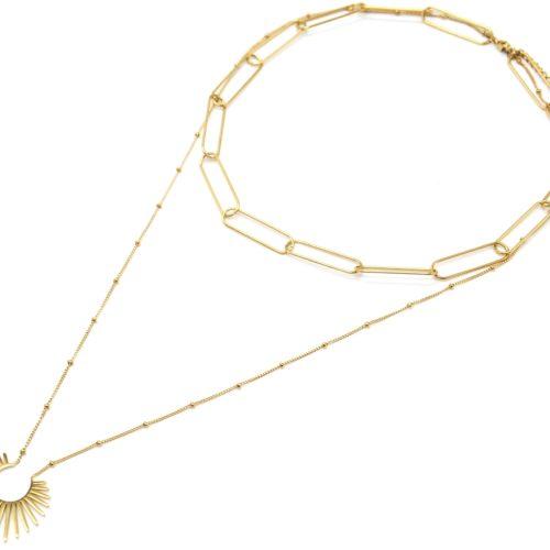 Collier-Double-Chaines-Maillons-et-Pendentif-Etincelle-Acier-Dore