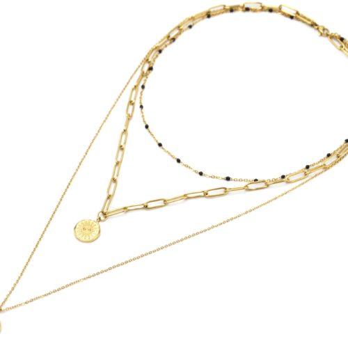 Collier-Triple-Chaines-Mini-Perles-Maillons-et-Medailles-Soleil-Etoile-Acier-Dore