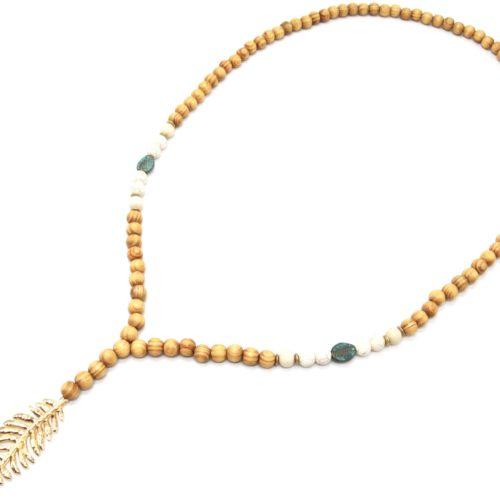 Sautoir-Collier-Perles-Bois-et-Effet-Marbre-avec-Pendentif-Plume-Metal-Dore