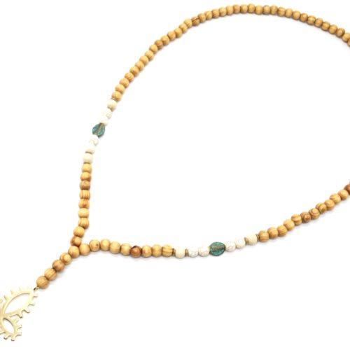 Sautoir-Collier-Perles-Bois-et-Effet-Marbre-avec-Pendentif-Croix-Metal-Dore