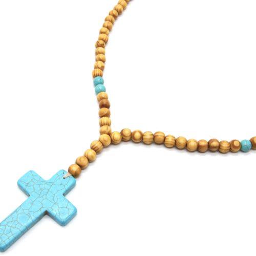 Sautoir-Collier-Perles-Bois-avec-Pendentif-Pierre-Croix-Effet-Marbre-Turquoise