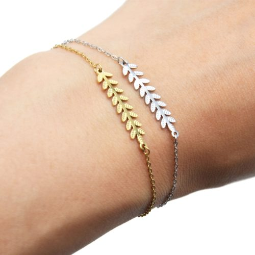 Bracelet-Fine-Chaine-avec-Feuilles-Laurier-Relief-Acier