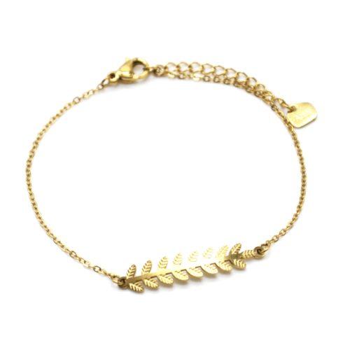 Bracelet-Fine-Chaine-avec-Feuilles-Laurier-Relief-Acier-Dore