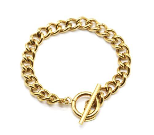 Bracelet-Chaine-Gros-Maillons-avec-Fermoir-T-Acier-Dore