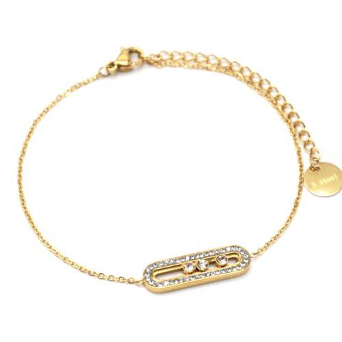 Bracelet-Fine-Chaine-avec-Rectangle-Arrondi-Strass-Pierres-et-Acier-Dore