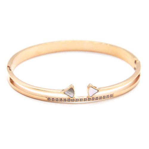 Bracelet-Jonc-Ajoure-Acier-Or-Rose-avec-Triangles-Nacre-et-Bande-Strass