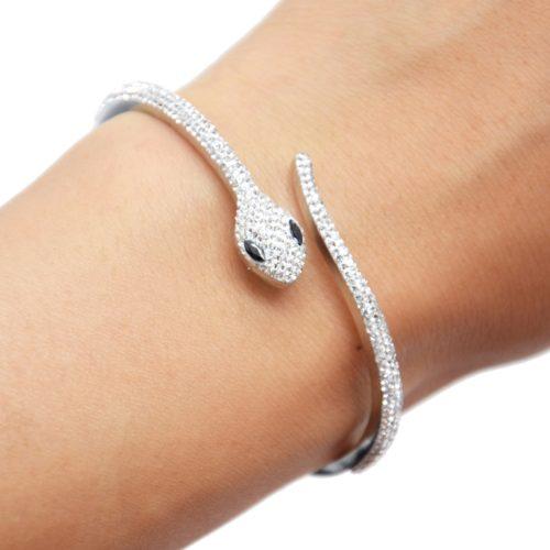 Bracelet-Jonc-Acier-Argente-avec-Serpent-Strass-Blanc